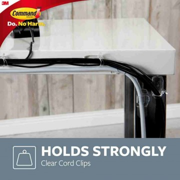 3M Command Damage-Free Hanging Clear Round Cord Clips 4'S