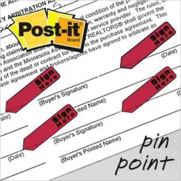 """3M Post-it Flags 684-RDSH (0.5"""" x 1.7"""") Sign Here Red"""