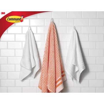 3M Command Damage-Free Hanging Bathroom Towel Hook w/Water Resistant Strip Large 2kg