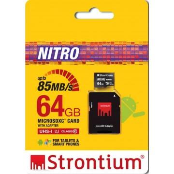 Strontium New Nitro MicroSD Memory Card w/Adapter 64GB