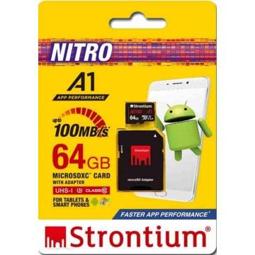 Strontium Nitro A1 MicroSD Memory Card w/Adapter 64GB