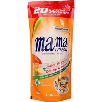 Mama Lemon Anti-Bacterial Dishwashing Liquid Fresh Citrus Refill 600ml