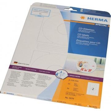 Herma White CD Labels 50'S 116mm