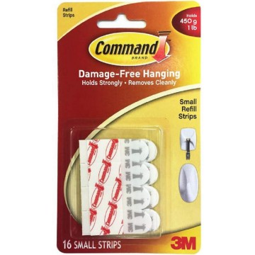3M Command Damage-Free Hanging Refill Strips Small 16'S 450g