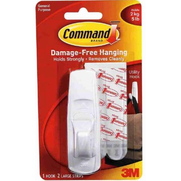 3M Command Damage-Free Hanging Utility Hook Large 2kg