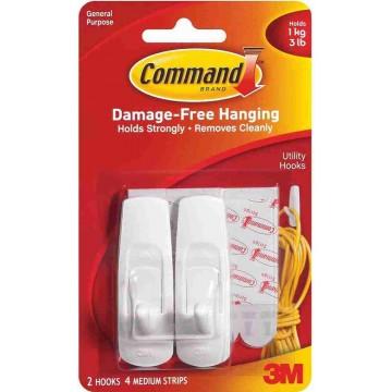 3M Command Damage-Free Hanging Utility Hook Medium 2'S 1kg