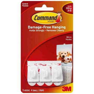 3M Command Damage-Free Hanging Utility Hook Micro 3'S 225g