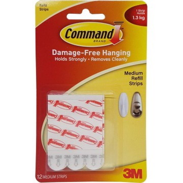 3M Command Damage-Free Hanging Refill Strips Medium 12'S 1.3kg