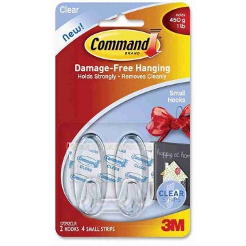 3M Command Damage-Free Hanging Clear Hook Small 2'S 450g