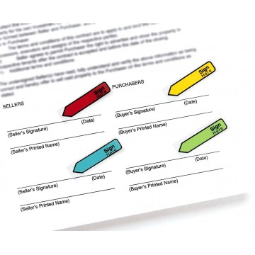 """3M Post-it Flags 684-SH (0.5"""" x 1.7"""") Sign Here 4-Colour"""