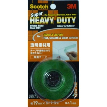 3M Scotch Super Heavy Duty Double-Sided Foam Tape KTD-19 (19mm x 1.5m) Clear & Smooth Surfaces