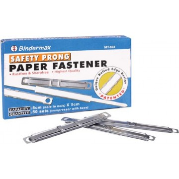 Bindermax Safety Prong Paper Fastener 50'S Metal
