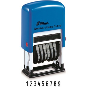 Shiny S-449 Self-Inking Number Stamp 4mm (Blue Ink) 9 Digits