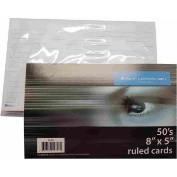 """Besform Ruled Index Cards (8"""" x 5"""") 50'S"""