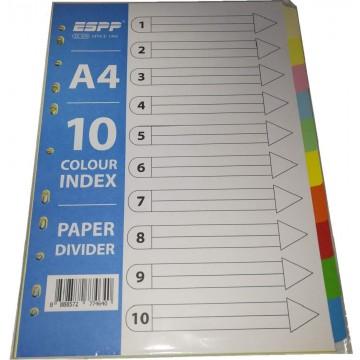 Paper Divider 10-Colour (5 Sets) 120gsm A4