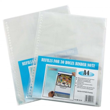 30-Hole Clear Book File Refill 10'S A4