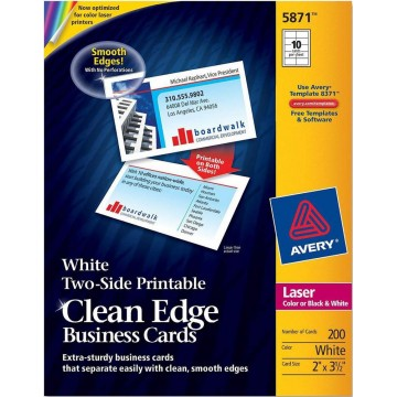 """Avery Two-Side Printable Clean Edge Business Cards 200'S (2"""" x 3.5"""")"""