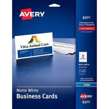 """Avery Matte White Business Cards 250'S (2"""" x 3.5"""")"""