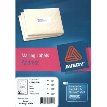 Avery White CD Labels 200'S 114.5mm