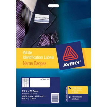 Avery Fabric Name Badge Labels 405'S (63.5 x 29.6mm)