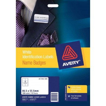 Avery Fabric Name Badge Labels 120'S (86.5 x 55.5mm)