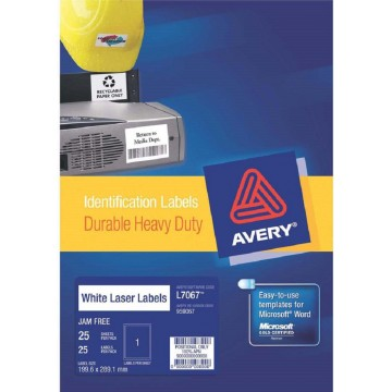 Avery Durable Heavy-Duty White Labels 25'S (199.6 x 289.1mm)