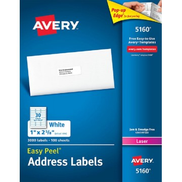 "Avery White Easy Peel Labels 3000'S (1"" x 2-5/8"")"