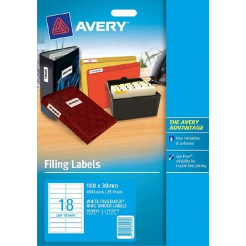 Avery White Labels 450'S (100 x 30mm)