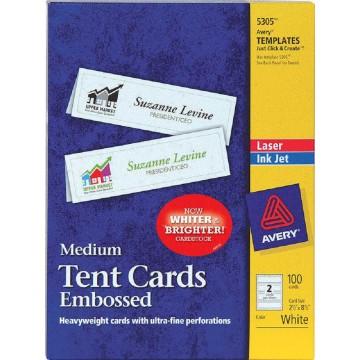 "Avery Medium Tent Cards 100'S (2.5"" x 8.5"") Embossed"