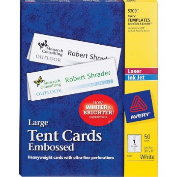 """Avery Large Tent Cards 50'S (3.5"""" x 11"""") Embossed"""