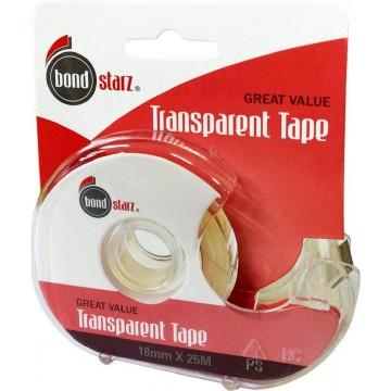 Bondstarz Transparent Tape w/Dispenser (18mm x 25m)