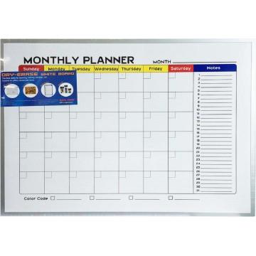Magnetic Whiteboard w/Monthly Planner (45 x 60cm) Aluminium Frame