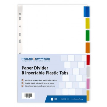HnO Paper Divider (8 Insertable Colour Plastic Tabs) A4
