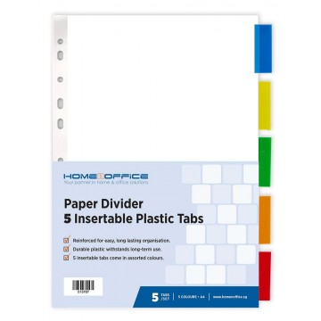 HnO Paper Divider (5 Insertable Colour Plastic Tabs) A4