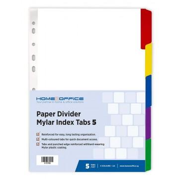 HnO Paper Divider Mylar Index Tabs (5 Colour) A4