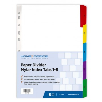HnO Paper Divider Mylar Index Tabs (1-5) A4 Colour