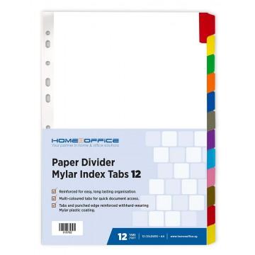 HnO Paper Divider Mylar Index Tabs (12 Colour) A4