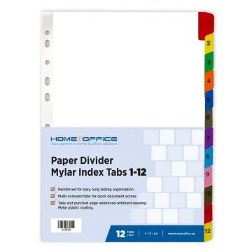 HnO Paper Divider Mylar Index Tabs (1-12) A4 Colour
