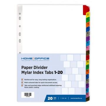 HnO Paper Divider Mylar Index Tabs (1-20) A4 Colour