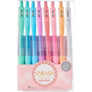 Zebra Sarasa Clip Milk Gel Ink Pen 0.5mm Retractable 8'S