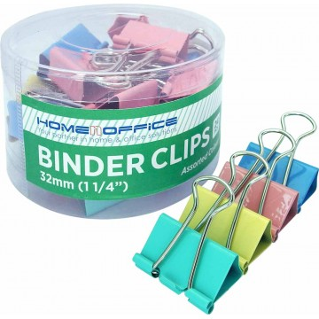 "HnO Colour Binder Clip (32mm, 1-1/4"") 24'S"