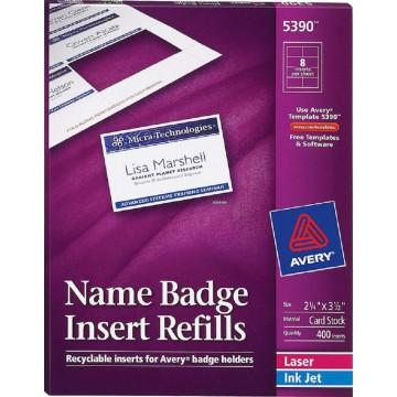 """Avery Name Badge Insert Refills 400'S (2.25"""" x 3.5"""")"""