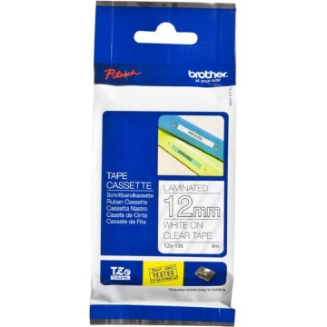 Brother P-Touch Laminated TZe-135 Tape 12mm White on Clear
