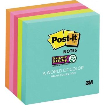 "3M Post-it Super Sticky Notes 654-5SSMIA (3"" x 3"") Miami Collection"