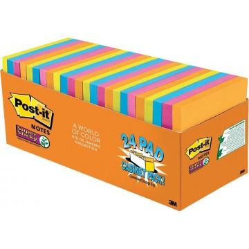 "3M Post-it Super Sticky Notes 654-24SSAU-CP (3"" x 3"") 24'S Rio De Janeiro Collection"