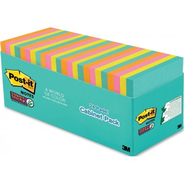 """3M Post-it Super Sticky Notes 654-24SSMIA-CP (3"""" x 3"""") 24'S Miami Collection"""