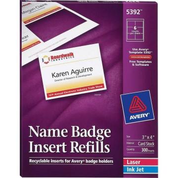 """Avery Name Badge Insert Refills 300'S (3"""" x 4"""")"""