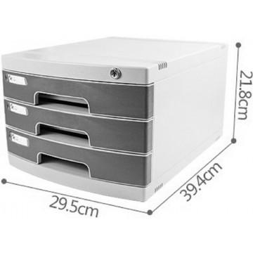 3-Drawer File Cabinet w/Key Lock (39.4 x 29.5 x 21.8cm)