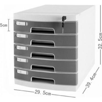 5-Drawer File Cabinet w/Key Lock (39.4 x 29.5 x 32.5cm)