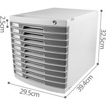 10-Drawer File Cabinet w/Key Lock (39.4 x 29.5 x 32.5cm)